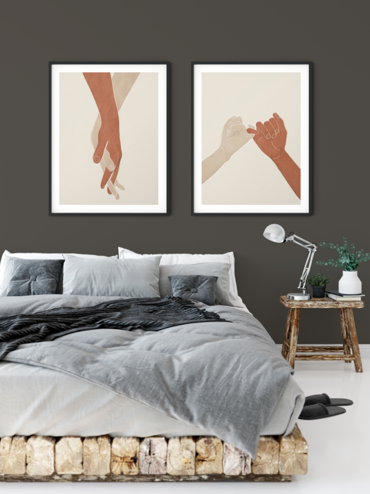 Showing: Wall color 2021 Color of the Year Urbane Bronze SW 7048 and minimal wall art print Holding Hands and Pinky Promise III by Nadja courtesy of Society6.
