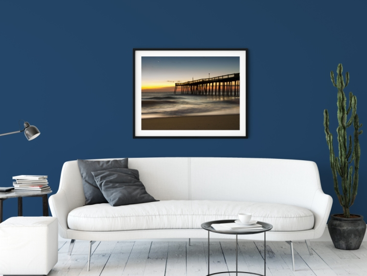 Showing: Wall color Commodore SW 6524 and coastal wall art print Motion of the Ocean at Sunrise courtesy of PIPA Fine Art