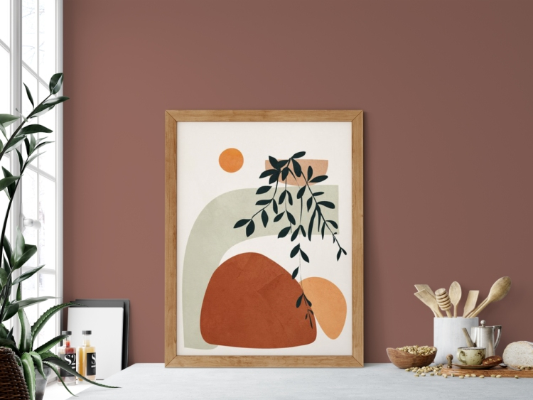 Showing: Wall color Reddened Earth SW6053 and abstract wall art print Soft Shapes courtesy of Society6 and City Art.